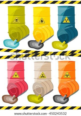 Toxic chemicals leak out of the container with the sign dangerous. Vector illustration - stock vector