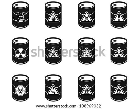 Toxic hazardous waste barrels icon - stock vector