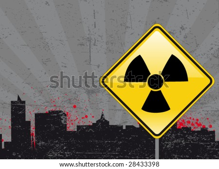 toxic sign and city background 1
