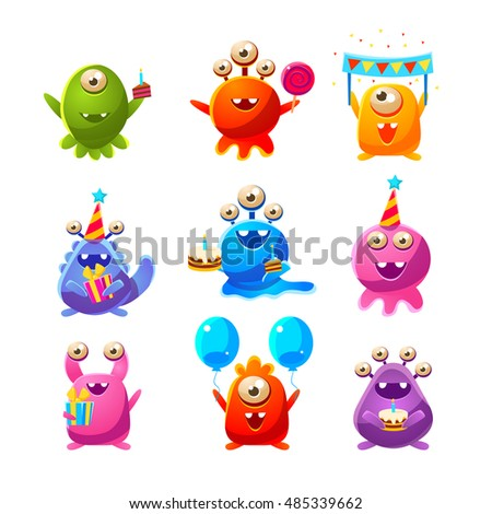 Toy Aliens With Birthday Party Objects Cute Childish Stickers. Cartoon Colorful Alien Characters Isolated On White Background.