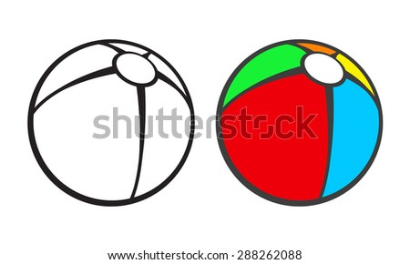 Toy Beach Ball For Coloring Book Isolated On White Vector Illustration