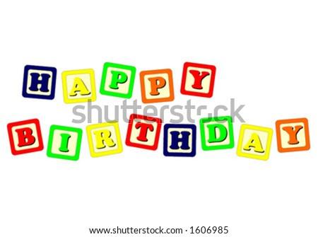 Toy cubes Happy Birthday - stock vector