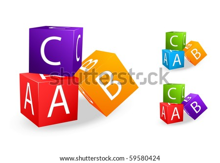 toy cubes with letter a b c - stock vector