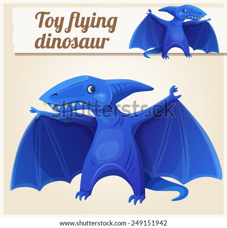 Toy flying dinosaur 7. Cartoon vector illustration. Series of children's toys - stock vector