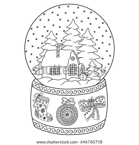 Toy Glass Snow Globe House Coloring Stock Vector 646760758 ...