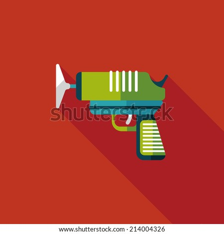 toy gun flat icon with long shadow,eps10 - stock vector