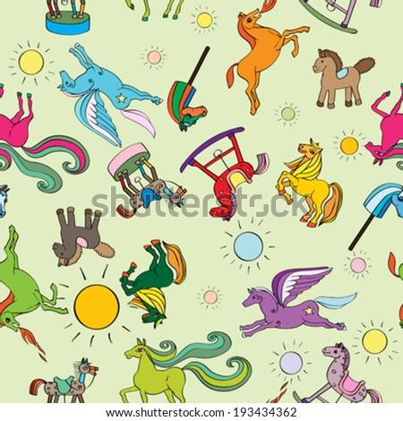 Toy horses seamless pattern, hand drawn doodle illustrations of a series of happy baby animals over a green background - stock vector
