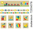 Toy icons and banner set - stock photo