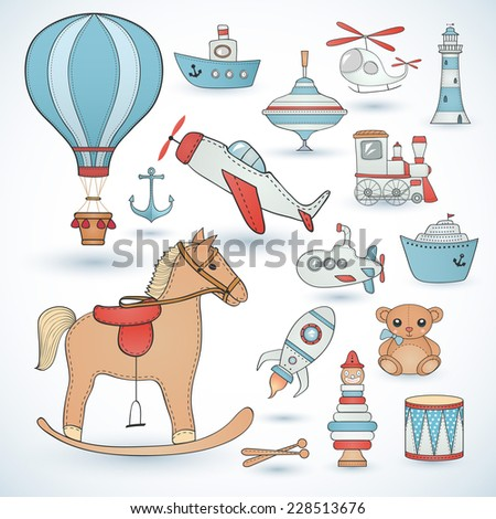 Toy icons collection. - stock vector
