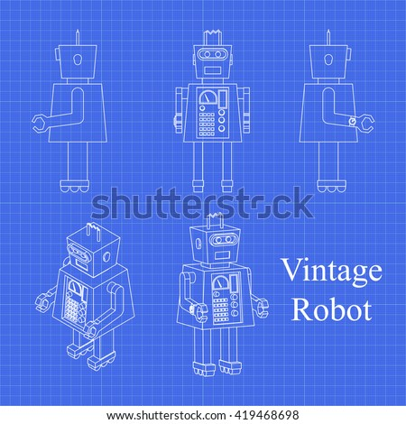 Toy robot blueprint toy robot vector stock vector 419468698 toy robot blueprint toy robot vector set vintage technology background malvernweather Images