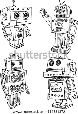 toy robots - stock vector