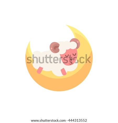 Toy Sheep Sleeping On The Crescent Moon - stock vector
