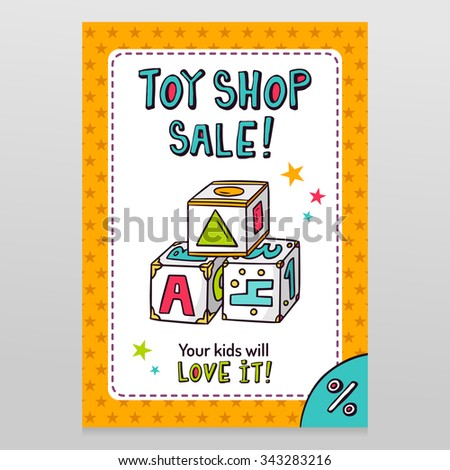 Toy shop bright vector sale flyer design with toy blocks for learning letters, numbers and shapes isolated on white with orange starry pattern background - stock vector
