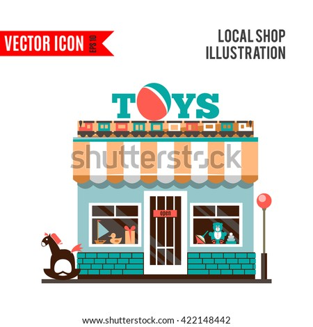 Toy shop icon isolated on white background. Vector illustration for childhood design. Retail store. Gift sale business. Game collection. Simple leisure sign and symbol. Cartoon flat market. - stock vector