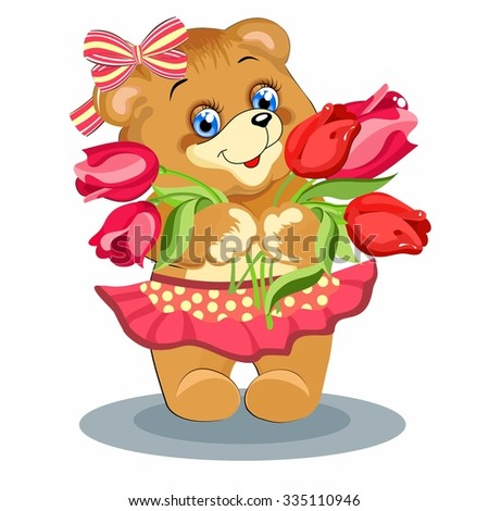 toy, sweet, baby, young, in the hands of the flowers, the mood, the emotions, the Princess - stock vector