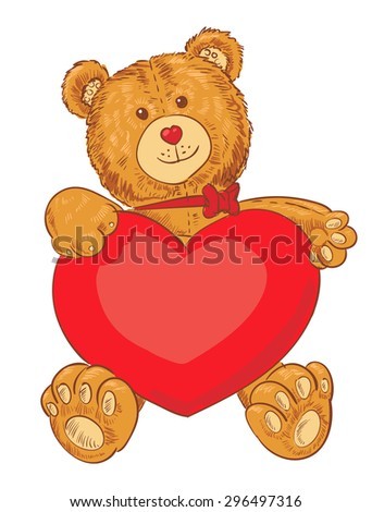 Toy teddy bear holding a heart. Funny cartoon character. Vector illustration. Isolated on white background - stock vector