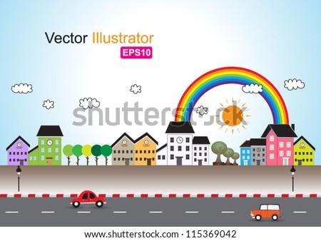 Toy town vector - stock vector