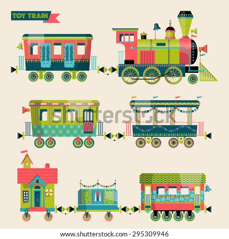 Toy train. Locomotive with several multi-colored coaches. Vector illustration. - stock vector