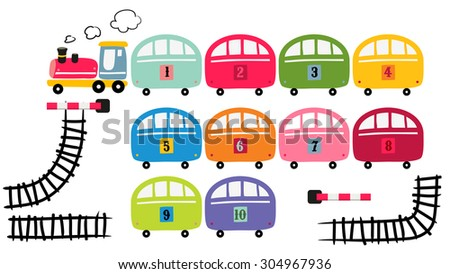 Toy train set, vector cartoon illustration, railway track.  - stock vector