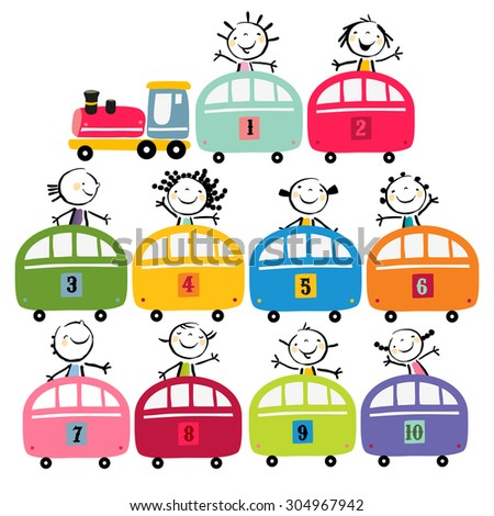Toy train set, with happy preschool kids, toddlers. Vector cartoon illustration, doodle.  - stock vector