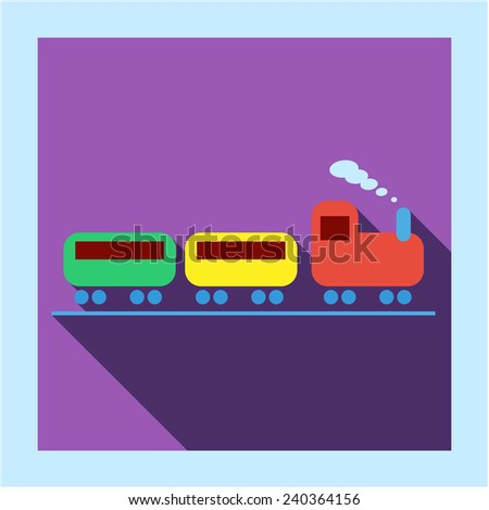 Toy train with steam locomotive icon photo frame card in flat style with long shadow. For railroad transport business, education, infographics and internet web site design - stock vector