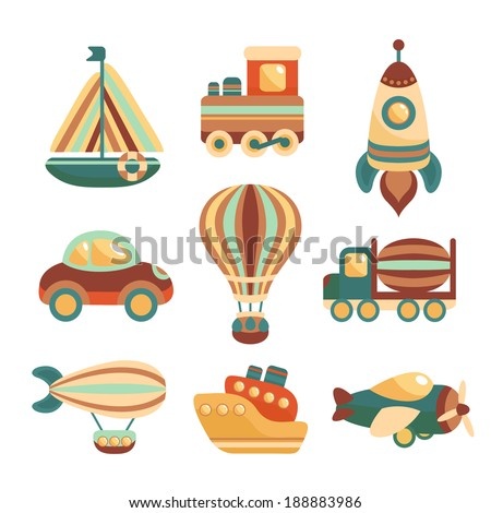Toy transport colored cartoon icons set with yacht  train space rocket isolated vector illustration