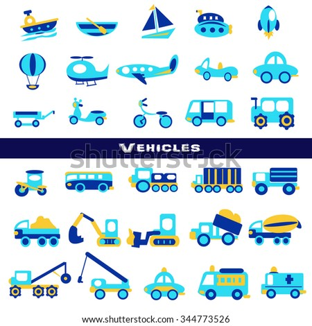 Toy transport set,blue color - stock vector