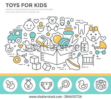 Toys and goods for baby concept illustration, thin line flat design - stock vector