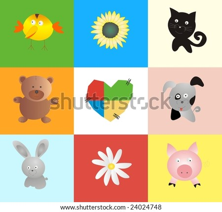 Toys and heart. baby background - stock vector