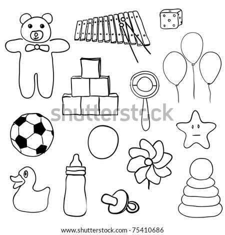 toys collection - stock vector