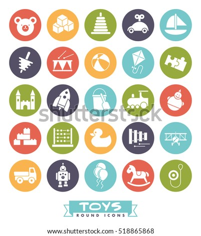 toys for babies kids children and toddlers vector icon set collection of round - Color For Toddlers