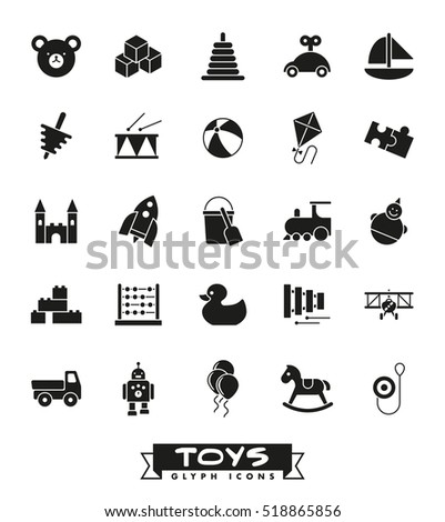 Toys for babies, kids, children and toddlers vector icon set. Collection of solid black children's toys icons.