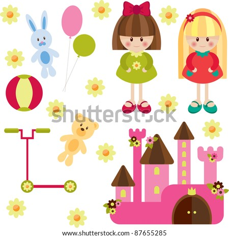 Toys for girl, isolated - stock vector