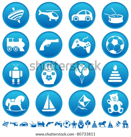 Toys icons - stock vector