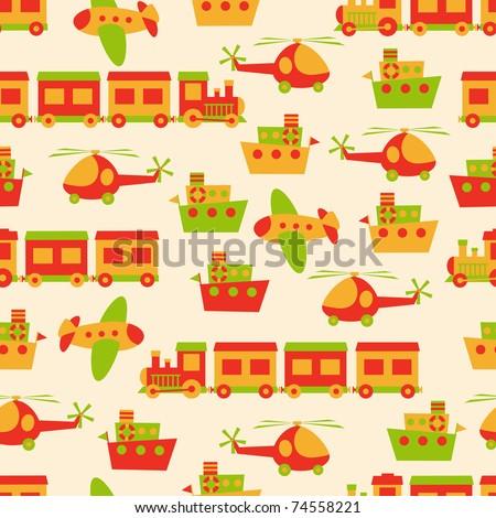 Toys pattern seamless - stock vector