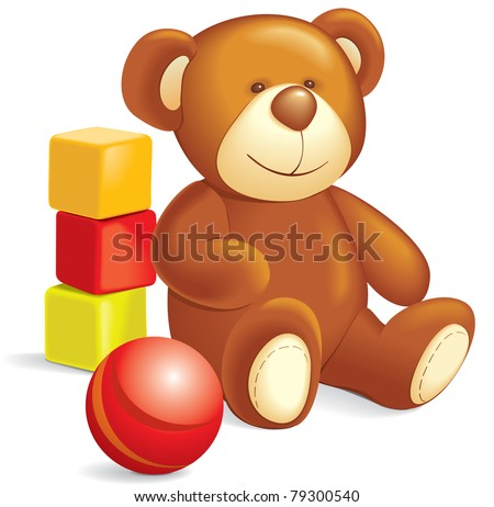 Toys - Teddy bear, cubes, ball. Vector illustration, separate layers - stock vector