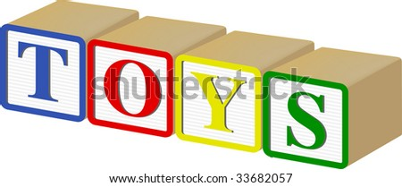 TOYS written out horizontally in 3D vector Wooden Baby Blocks