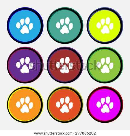 trace dogs icon sign. Nine multi colored round buttons. Vector illustration - stock vector