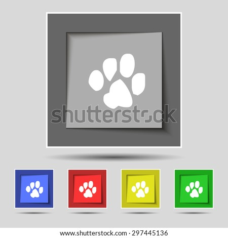 trace dogs icon sign on original five colored buttons. Vector illustration - stock vector
