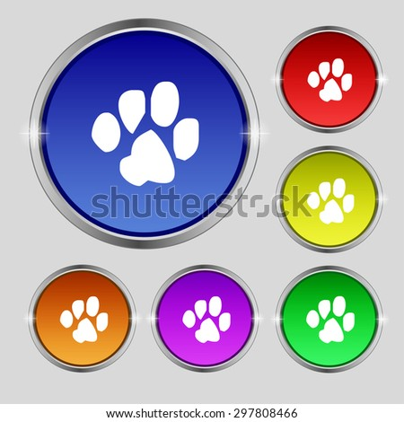 trace dogs icon sign. Round symbol on bright colourful buttons. Vector illustration - stock vector