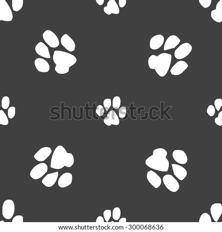 trace dogs icon sign. Seamless pattern on a gray background. Vector illustration - stock vector