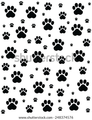 Trace of cats, seamless vector wallpaper
