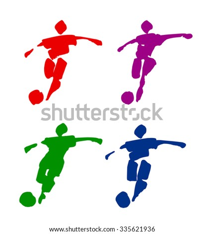 Traced illustration of football players. Can be easily colored and used in your design. - stock vector
