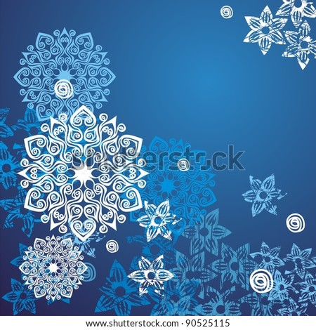 tracery background with snowflakes. Vector illustration