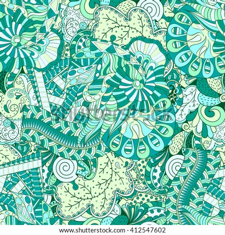 Tracery Seamless Calming Pattern Mehendi Design Ethnic Colorful Harmonious Doodle Texture Indifferent Discreet
