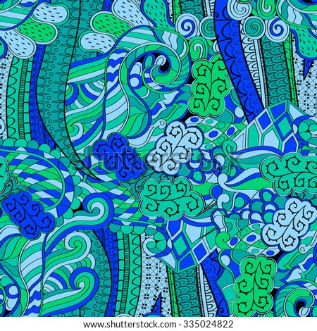 Tracery seamless calming pattern. Mehendi design. Neat even blue harmonious doodle texture. Algae sea motif. Indifferent discreet. Ambitious bracing usable, curved doodling mehndi. Vector. - stock vector