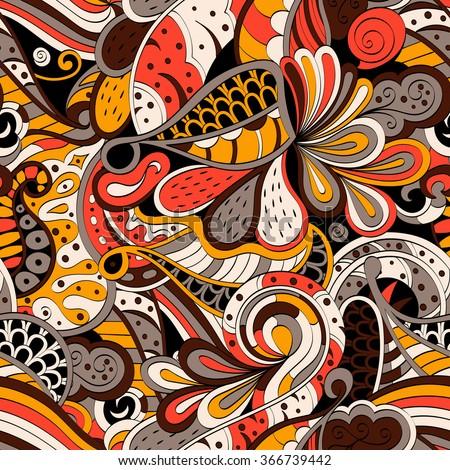 Tracery seamless calming pattern. Mehendi design. Neat even colorful harmonious doodle texture. Algae sea motif. Vector. - stock vector
