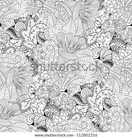 Tracery Seamless Calming Pattern Mehndi Design Ethnic Monochrome Binary Doodle Texture Curved Doodling