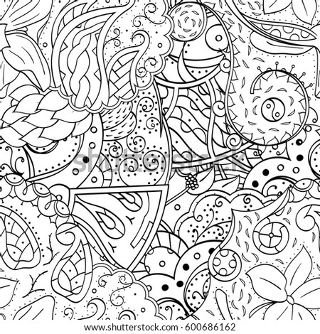 Coloring Page Madagascar Lemur Surrounded By Stock Vector 717609463