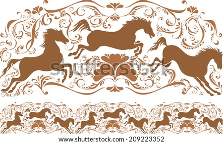Tracery with horses and monograms. Ornament vector pattern. Vintage ornament. Decorative modules comprising. - stock vector